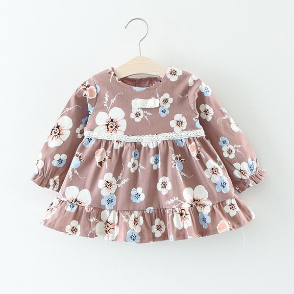 Herbst Mode Infant Baby Mädchen Kleid 2017 Marke Casual Baumwolle Langarm Blumendruck Mädchen Kleider Kleinkind Mädchen Kleidung