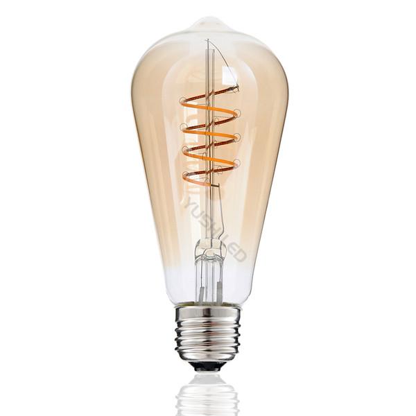 ST64 Weinlese-LED Birnen-einzigartiger Entwurf gewundene verbogene Glühlampen PFEILER LED Lampe Dimmable 4W 110V 220V 2200K warmes Gelb verzieren Kunst Edison-Licht