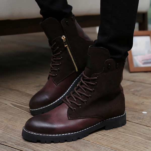Gros-New British Style Mens Crâne Haut Top Lace Up Mode Martin Bottes Rétro Zipper Square Heel Moto Chaussures Bottes Homme Gladiator