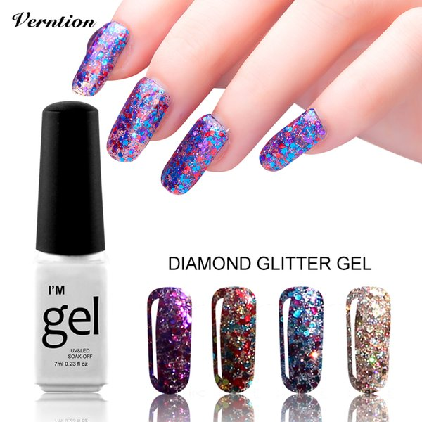 Wholesale- 3D Diamond Glitter lucky Nail Gel Polish UV LED Lacquer Sequins professional Nail Art Soak off Top and base coat Gel Varnish