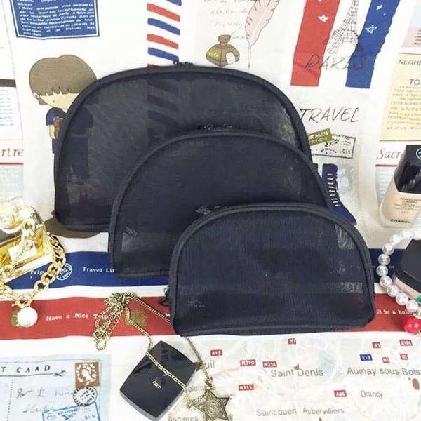 Women mesh famous brand 3pcs/set vanity cosmetic case luxury makeup organizer bag toiletry clutch pouch boutique VIP gift