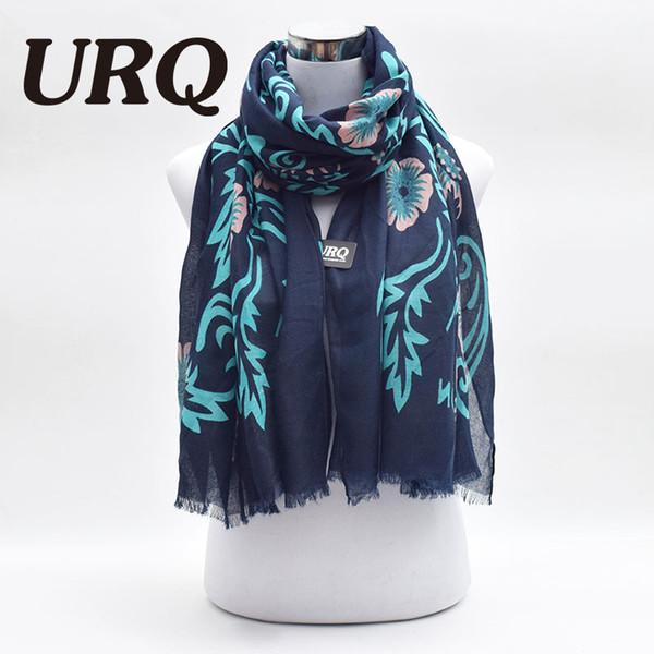 Toptan-Marka Yeni Tasarımcı Kış Uzun Viskon Atkılar Kadınlar koyu mavi Atkı Çiçek Baskılı Kafa Atkılar Şal V9A1859