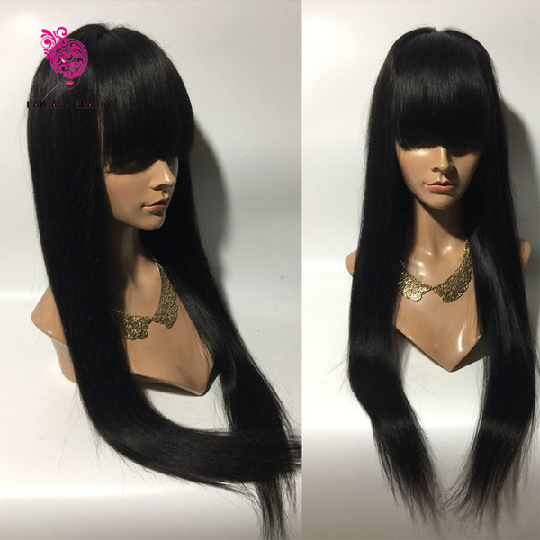 Hot Sale 100% Malaysian Virgin Hair Full Fringe Wig Human Hair Glueless Full Lace Wig With Bangs Bleached Knots For Black Women