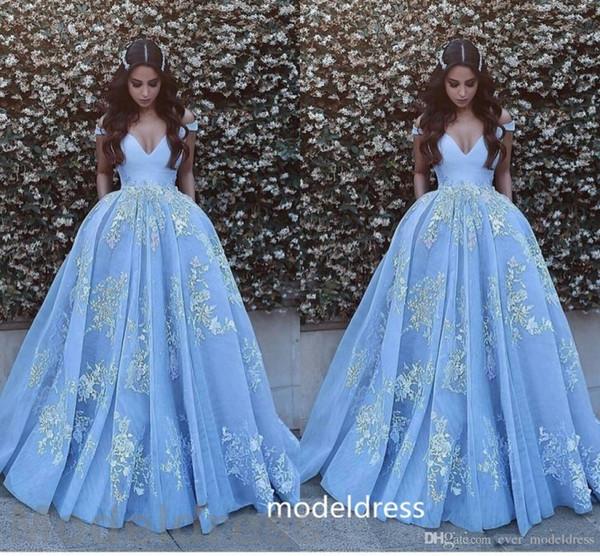 New Arabic Prom Dresses 2017 V Neck Backless