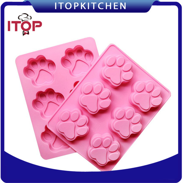 Free shipping! ITOP DIY Cookie Cat Dog Paw Print Animal Silicone Chocolate Ice Soap Mold Pudding jelly mould