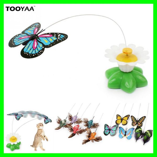 2017 Newest Funny Pet Cat Kitten Play Toys Electric Rotating Butterfly bird Steel Wire Cat Teaser For Pet Kitten Toys
