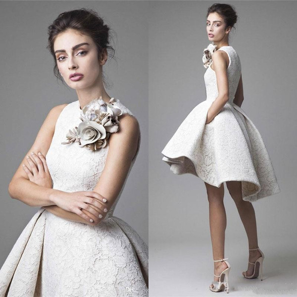 top popular Cheap Krikor Jabotian Evening Dresses Jewel Neck Flower Sleeveless 2019 Lace Prom Gowns A Line Short Mini Party Homecoming Dress 2020