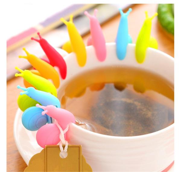 Più economico carino colorfil silicone vino vetro lumache etichette silicone tè tazza tazza marcatori impostato bere etichette occhiali marcatore spedizione gratuita (7)