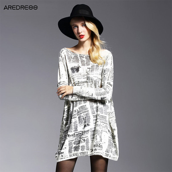 Wholesale-Autumn 2016 New Women Knitted Long Newspaper Print Loose Large Plus Size Oversized Sweaters And Pullovers Jumper Pull Femme