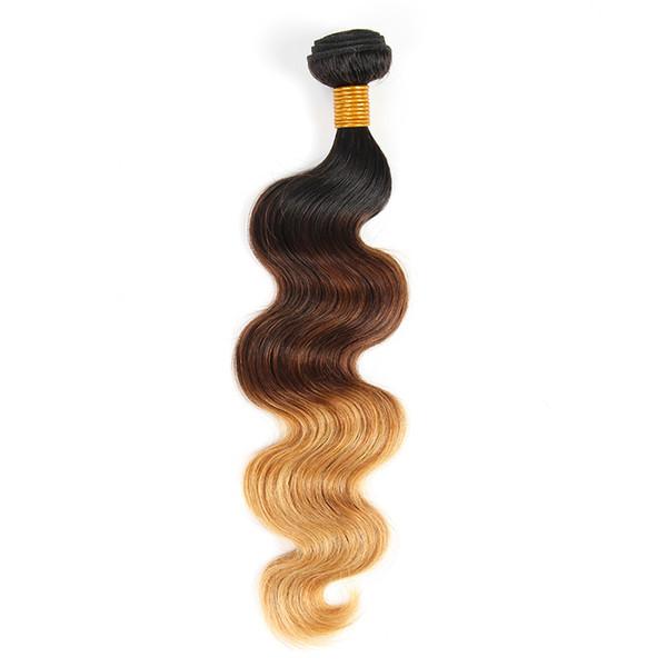 El cabello humano brasileño de la Virgen de la onda del cuerpo teje 3 colores del tono 1B / 4/27 100g trama doble sin enredadera del vertimiento libremente