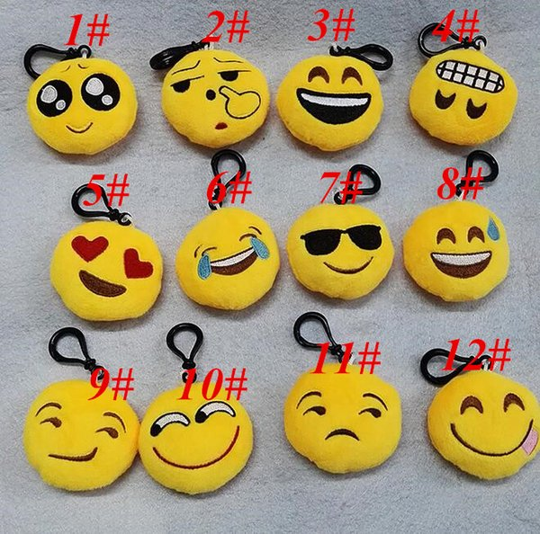 2017 6cm Key Chain Gifts Keychains Emoji Smiley Small pendant Emotion Yellow QQ Expression Stuffed Plush doll toy for bag pendant