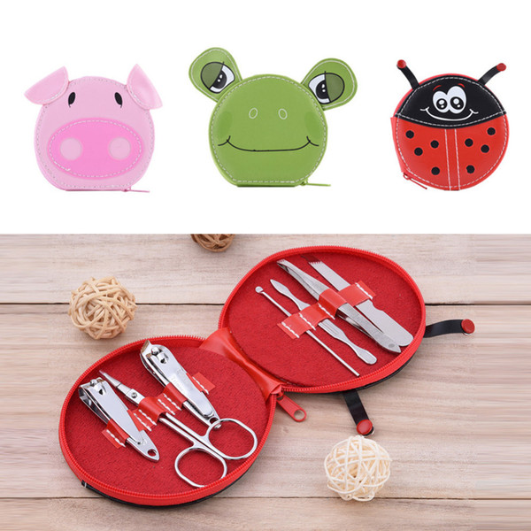 Al por mayor-7pcs / Set Cute Animals Nail Art Set de manicura Nail Clipper ceja Scissor Cliper Ear Cuchara doble cabeza Dead Skin Nipper Kit