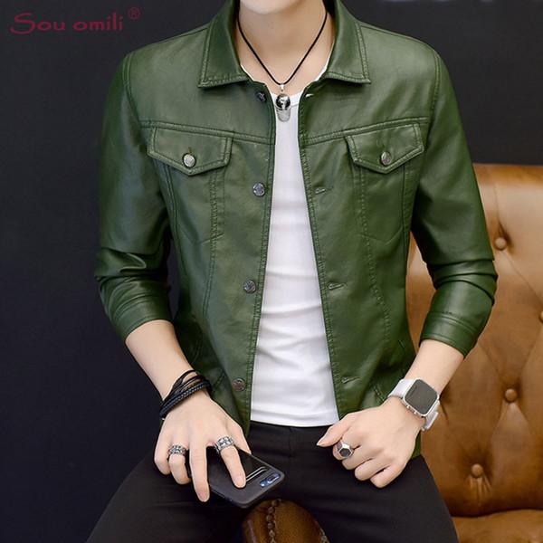 Wholesale- 2018 Green Leather Jacket Man Black Blazer Jacket Moto Coat Casaco Chaquetas Jacket Uomo Overcoat jaqueta de couro Faux Leather