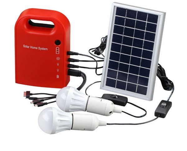 Wholesale- Portable Solar Power Home System Energy Kit Include 4 in 1 USB Cable Solar Panel 2 Lamps For Lighting and Charging Everywhere
