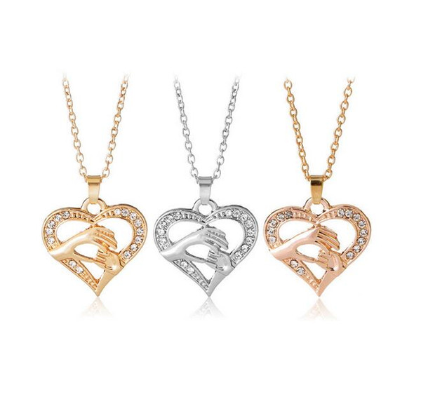 Free shipping Mother 's Day fashion hand in hand love peach heart necklace chain chain WFN410 (with chain) mix order 20 pieces a lot