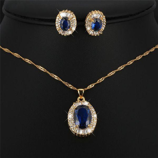hot fashion jewelry fashion bride Gemstone Necklace necklace earrings set woman