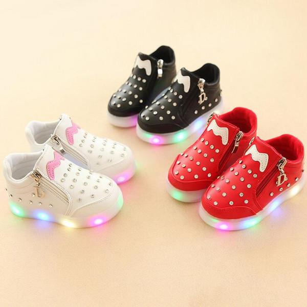 cartoon Zip fashion children boots diamond cute boys girls shoes Lovely fashion kids shoes footwear leisure infant tennis