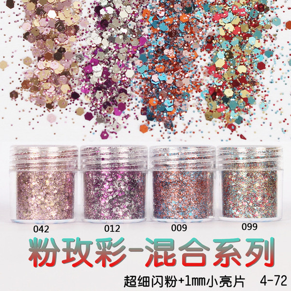wholesale-1 box pink rose colorful nail glitter dust fine mix 3d nail sequins acrylic glitter powder large nail art tips decoration 10ml