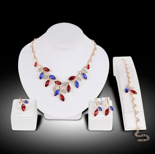 top popular Boutique Colorful Stones Necklace Set Women Leaf Shape Ring Earrings Bracelet Necklace Set Lady Party Jewelry Gift 2020
