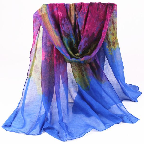 Atacado-nova chegada de alta qualidade moda inverno longo lenço das mulheres gradual cor leopardo impresso voile foulard cachecol xale lenço infinito