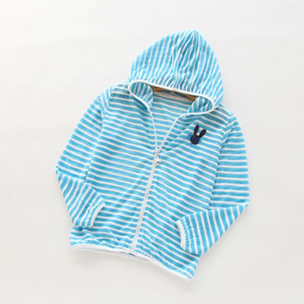 Sonnenschutz UV Gestreifte Kinder Jacken Für Jungen Mädchen Dünne Oberbekleidung Kleidung Strand Strickjacke 2017 Sommer Mit Kapuze Mantel