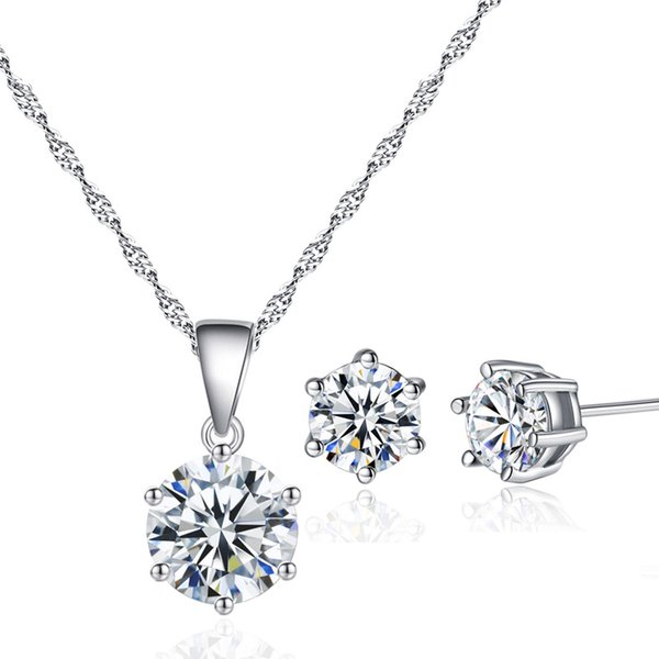 best selling 18K White Gold Plated Six Claws Big Cubic Zirconia 6MM Stud Earrings 8MM Pendant Chain Necklace Kids Jewelry Sets for Children Girls