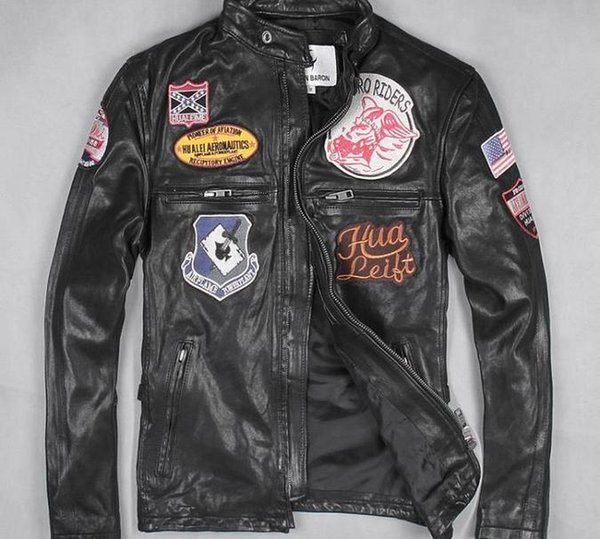 urban baron man genuine leather jacket with 8 standard First layer of leather motorcycle suit Stand Collar