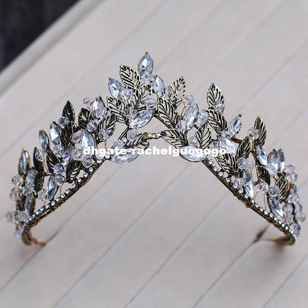 Черный сплав лист корона европейский стиль старинный дворец королева тиара невесты свадебные аксессуары для волос обруч корона