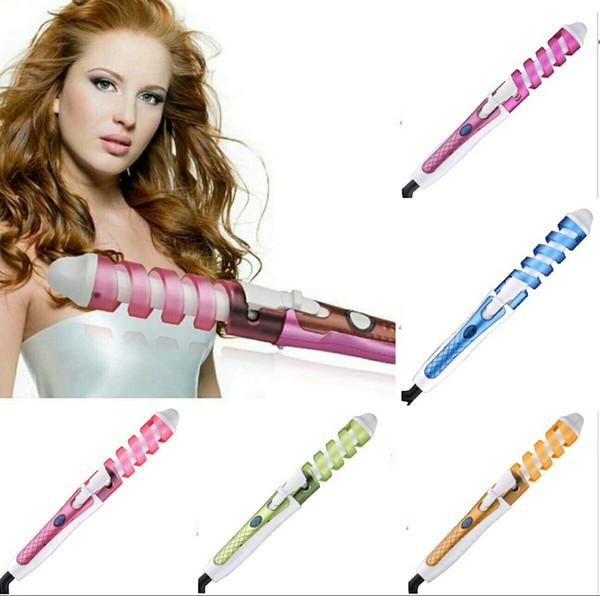 top popular 2016 Electric Magic Hair curler Styling Tool fast heating hair stick Rizador Pelo Roller Pro Spiral Curling Iron wall hanger NHC-8558 2020