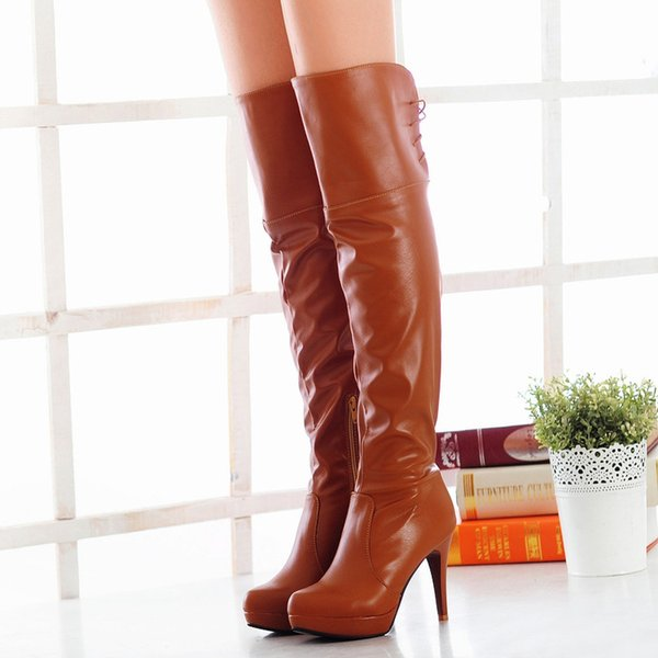 Free Shipping 2015 Fashion Womens Thigh Over Knee High Winter Boots Platform Big sizes 35-47 lace up Half Zipper Ladies Shoes 0813 Cheap