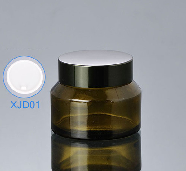 Venta al por mayor 300 unids / lote capacidad 50 ml tarro de crema de botella de vidrio vacío, 50 g cremas de loción verde tarros de embalaje cosmético ED19