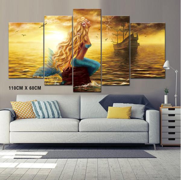 Mermaid e Pirate Ship Frameless Paint Wall Art