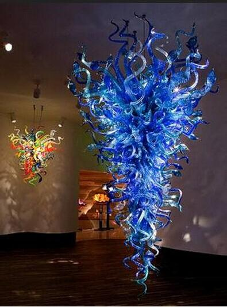 Venta caliente azul araña de cristal para la decoración del hotel hogar fuente de luz LED mano vidrio soplado estilo americano araña
