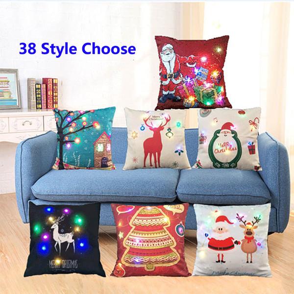 best selling 45*45cm Led Light Luminous Pillow Case Christmas XMAS Santa Claus Reindeer Pillow Case Sofa Car Decor Cushion Gifts WX9-62