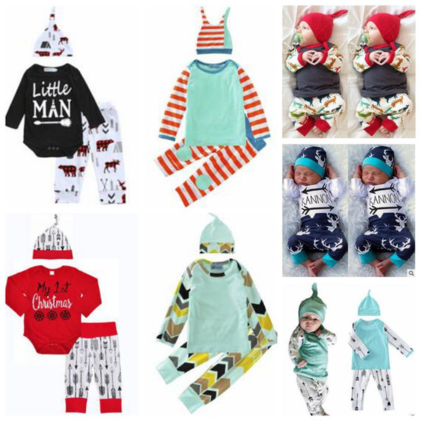 top popular Baby Clothes Christmas Kids Deer Print Suits Xmas Ins Outfits Ins Letter Romper Pants Hats Clothing Sets Cotton Jumpsuit Caps Trousers 3309 2021