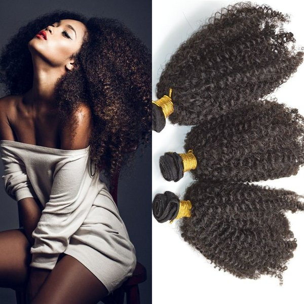 Brazilian Afro Kinky Curly Human Hair Weave Bundles Natural Black Remy Hair Extensions for Black Women Free Shipping FDSHINE