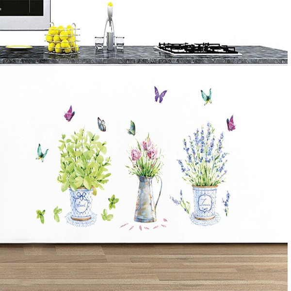 Wall Stickers Butterfly Vase DIY Corridor Window Decoration Home Decor Potted Flower Sticker Can Be Removed Water Proof 3 8ch F R