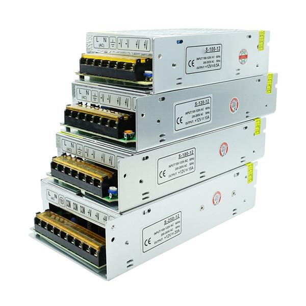 10PC 12V LED adaptador de transformador de fuente de alimentación convertidor 2A 3A 5A 8.3A 10A 12.5A 15A 20A 25A 30A 24W-360W para módulos de tira cadena barra de neón