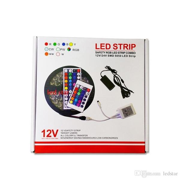 SMD 5050 a mené le kit de lumières de bandes RVB imperméable IP65 + 44 clés à télécommande de l'alimentation + 12V 5A avec la prise d'UE / AU / US / UK