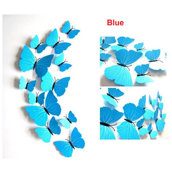 Azul hermoso 3D mariposa pegatinas de pared decoración para el hogar DIY con imán para sala de estar dormitorio decoración del partido