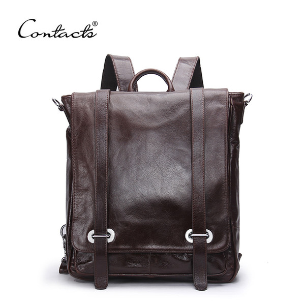 Wholesale- CONTACT'S Genuine Leather Backpack Men Multifunctional Backpack Korean Fashion Male School Backpack Large Travel Bag Brand Bags