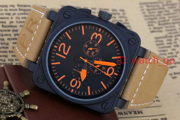 2017 nuovo orologio sportivo di lusso Nuovo acciaio inossidabile automatico meccanico nero gomma BR Bell PVD tuffo 46mm grandi orologi quadrante rosso