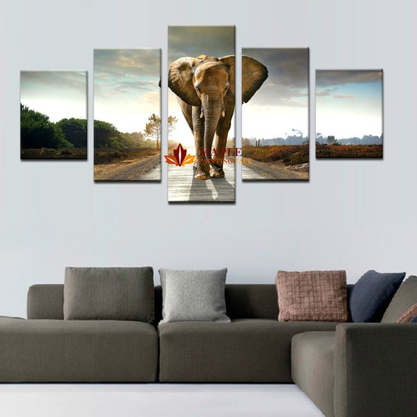 5 Panles Elephant Painting Wall Art Picture For Home Decoration Living Room picture wall decor art photos on canvas