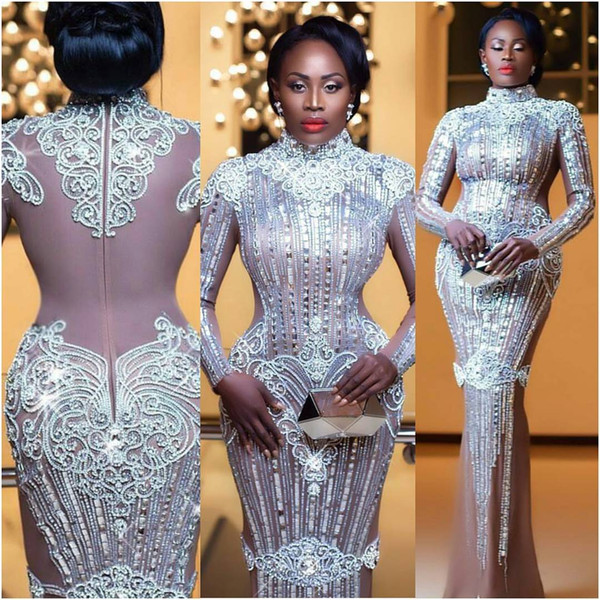 top popular Nana Akua Addo Glitz Style Awards Crysatal Celebrity Dresses 2017 Evening Dresses Long Sleeve High Collar Celebrity Party Dresses Red Carpet 2019