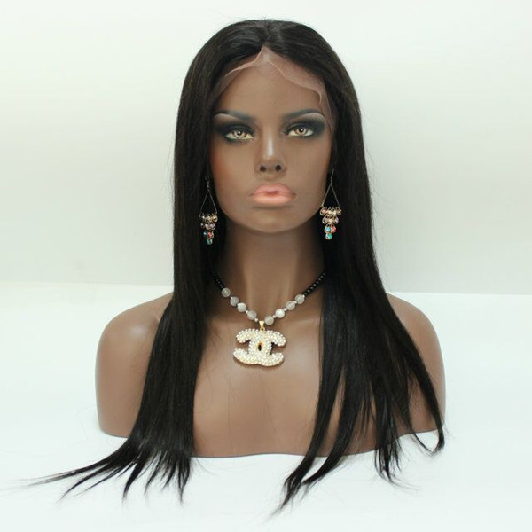 Brazilian Base Wig With Baby Hair Straight with bangs Silk Top Full Lace Wigs Glueless Full Lace Human Hair Wigs For Black Women