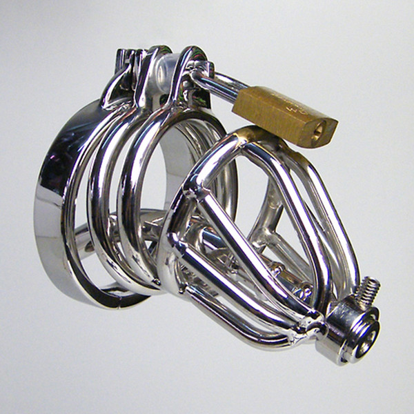 Anti-off ring Penis Cage Lock Stainless Steel Lockable Penis Cock Ring Sleeve Male Chastity Device Cage Belt Cockring Sex Toys