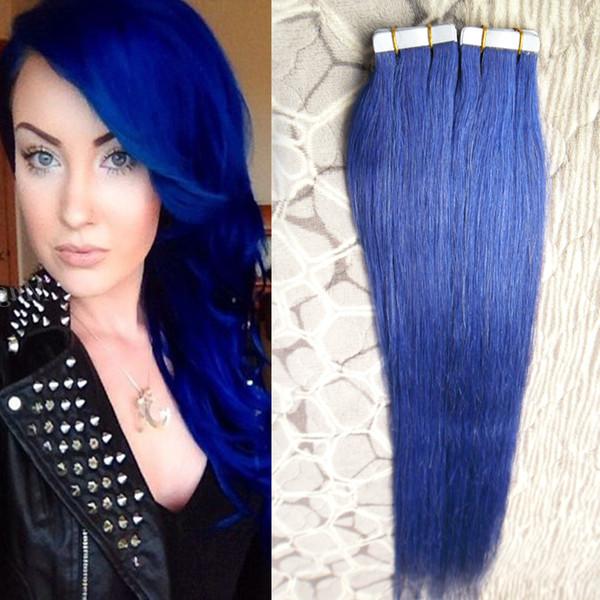 Blue Tape in Human Hair Extensions brazilian hair Straight 100g 40pcs