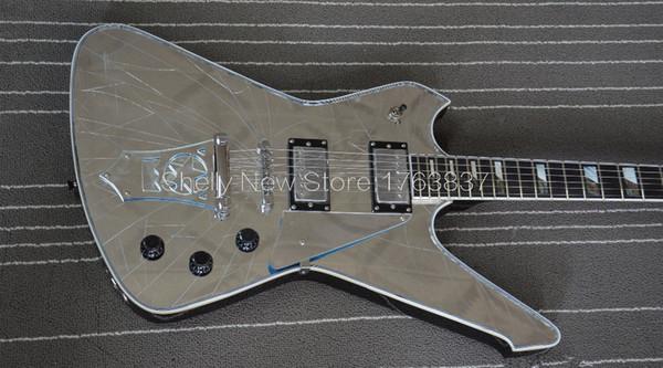 Personalizado rachadura Espelho Top Iceman Paul Stanley assinatura da guitarra elétrica Formato de Estrela arremate Abalone White Pearl Bloco Fingerboard Inlay