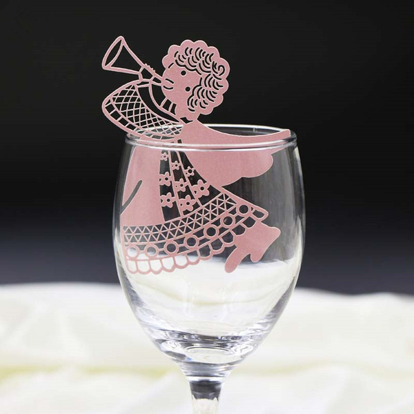50pcs/lot free shipping Laser Cut Wedding Party Table Name Place Cup Cards angel Wedding Party Decoration Wedding Favors Party Supplies