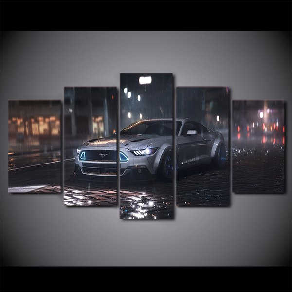5 Piece Canvas Art Ford Mustang Car Hd Printed Wall Art Home Decor Canvas Painting Picture